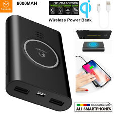 Portable Fast Wireless Charger QI Battery Power Bank fr iPhone X 8 7 8000Amh LOT