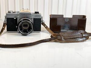 Vintage Beseler Topcon Auto 100 Camera 53mm Kogaku Lens Tokyo w/Leather Case