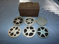 VINTAGE CAMERA  5 8MM MOVIE REELS FLOWERS CAMP PEOPLE IN METAL BOX