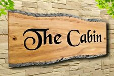 More details for personalized oak carved wooden home sign  house number name plaque outdoor plate