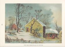"""1974 Vintage Currier & Ives COUNTRY LIFE """"HOMESTEAD IN WINTER"""" COLOR Lithograph"""