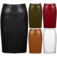 New Faux Leather High Waisted Back Split Bodycon Midi Pencil Skirt Party PU PVC