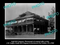 OLD LARGE HISTORIC PHOTO GULF OIL COMPANY OFFICE PORT ARTHUR TEXAS c1900