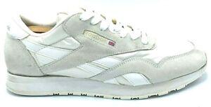 Reebok Classic Nylon Mens Casual Shoes Vintage White Grey 1 6390 EUC Size 12