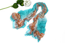 Extra Long Extra Wide Chiffon Scarf/Shawl Blue and Brown Theme CHD201