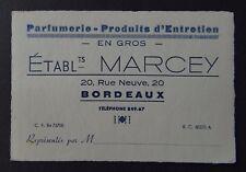 Carte de visite MARCEY Parfumerie ru Neuve Bordeaux old visit card