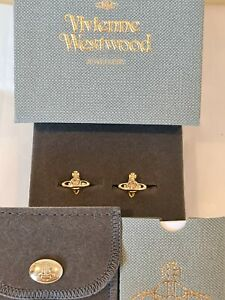 Vivienne Westwood Nano Gold tone Crystal Solitaire Earrings New