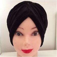 VELVET NEW HEAD WRAP INDIAN STYLE TURBAN HAT SOFT VELVET BLACK