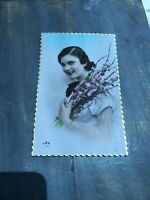 RPPC Tinted Antique Postcard Woman Holding Pink Flowers