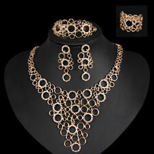 Lady Elegant 18k Gold Filled Circles Stud Earrings Necklace Jewelry Set WW77