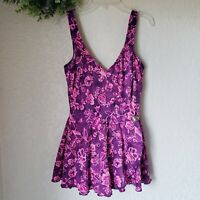 Vintage Maxine of Hollywood Swimsuit Womens size 14 One Piece Floral Purple Pink