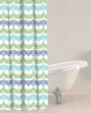 Sabichi New PEVA Nautical Green Blue Waves 180 x 180 Shower Curtain 12 Hooks
