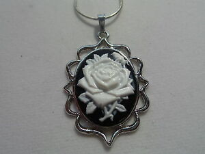 """ROSE CAMEO NECKLACE 20"""" CHAIN"""