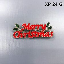 Gold Finished Statement Merry Christmas Shape Event Christmas Brooch Xp24G