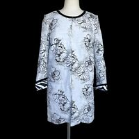 JUST B Women's Size S White Black Floral Crew Neck Long Sleeve Jacket