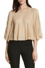 NEW ELIZABETH AND JAMES Amil Flounce Crop Top in Gold - Size M
