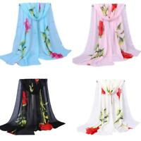 1 PC Elegant Women Rose Long Soft Wrap Scarf Ladies Shawl Chiffon Scarf Scarves