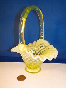 """Original-vintage Antique (Fenton-?) """"HOBNAIL ~ VASELINE Glass ~ BASKET""""!"""