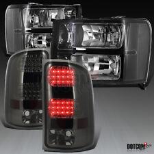 2007-2013 GMC Sierra 1500 2500HD 3500HD Black Headlights+Smoke  LED Tail Lamps