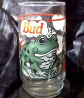 BUD WEIS ER Frog Glass Tumbler Budweiser Beer 1995 Frogs NEW RIBBITT King of Vtg