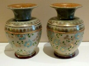 Royal Doulton Slater Patent Stoneware Vase x2 Model number 7587 circa 1900