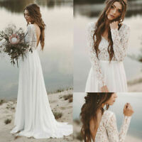 Wedding Dresses Lace White Ivory Backless V Neck Long Sleeve Train Bridal Gowns