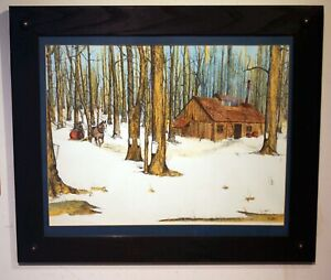 aquatint etching of maple sugaring time signed rustic frame glass