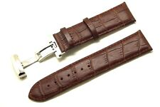 24mm Brown Croco Embossed Leather Watch Strap Stainless Deployment Clasp