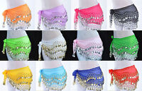 Chiffon Belly Dance Hip Scarf Wrap Belt Tribal Coin Sash Skirt - FREE SHIP