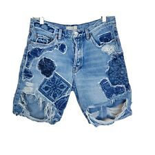 We The Free People Women's Blue Button Fly Distressed Denim Jeans Shorts Size 28