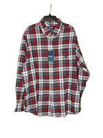 Chaps Performance Flannel Shirt 2XB Men New Red Plaid