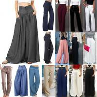 Womens Wide Leg Flared Palazzo Pants High Waist Loose Casual Bootcut Trousers