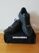 NIB DSquared2 Black Leather Vitello Sport Trainers US 10.5