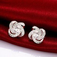 Wholesale 925 Sterling Silver Filled Clear Zirconia Crystal Knot Stud Earrings