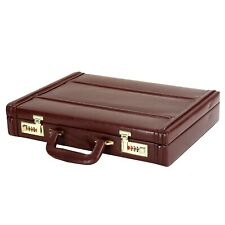 Hard Craft Vegan Leather Executive Briefcase Attache Golden Combination Lock