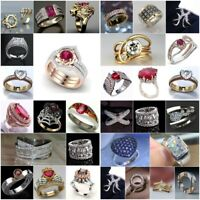Chic 925 Silver Women Ruby White Topaz Ring Wedding Gift Jewelry Party Size 6-13