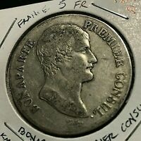 1803-Q AN 12  FRANCE SILVER 5 FRANCS BONAPARTE PREMIER CONSUL CROWN RARE