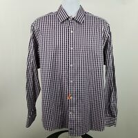 Johnston & Murphy Tailor Brown Black Gingham Check L/S Dress Button Shirt Large