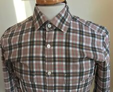 HUGO BOSS - Men's Sz Small Slim Fit Orange Yellow White Plaid Long Sleeve Shirt