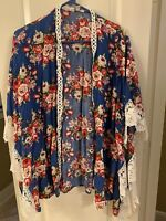 Umgee Womens Blue Floral Kimono Open Cardigan Medium Large Swim Coverup