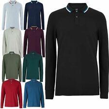Ex M&S Mens Long Sleeve Tipping Plain Polo Shirt Cotton Marks & Spencer T Shirt