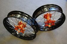 "KTM 125 200 300 250 450 520 525 FRONT/REAR 17""/17"" SUPERMOTO WHEEL SET U RMT03"
