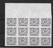 RHODESIA, 1965 POSTAGE DUES, 6d SG D11, MNH BLOCK 12, WITH 2 FLAWS,