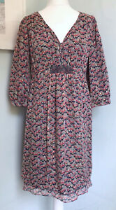 JIGSAW Y2K Multicoloured 100% Silk Smocked Dress UK 12 Peasant Ethnc Boho Lined