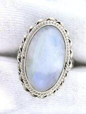 Handmade Rainbow Moonstone Pure Sterling Silver Cab Cabochon Gemstone Gem Ring