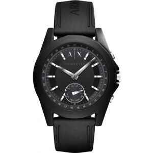 Armani Exchange Men's Hybrid Smartwatch Black Silicone Strap 44mm Watch AXT1001