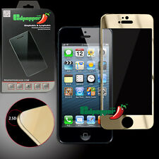 Front Color Mirror Tempered Glass Screen Protector for iPhone5 5S 5C  Gold USA