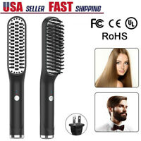 Electric Quick Heated Beard Straightener Brush Hair Comb Curling Styler Tools US