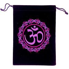 OM Symbol Unlined Black Velveteen Tarot, Crystal Bag!