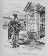 GROVER CLEVELAND AS A HOBO BUM AT DEMOCRATIC BARBEQUE FREE LUNCH WHISKY SPOILS